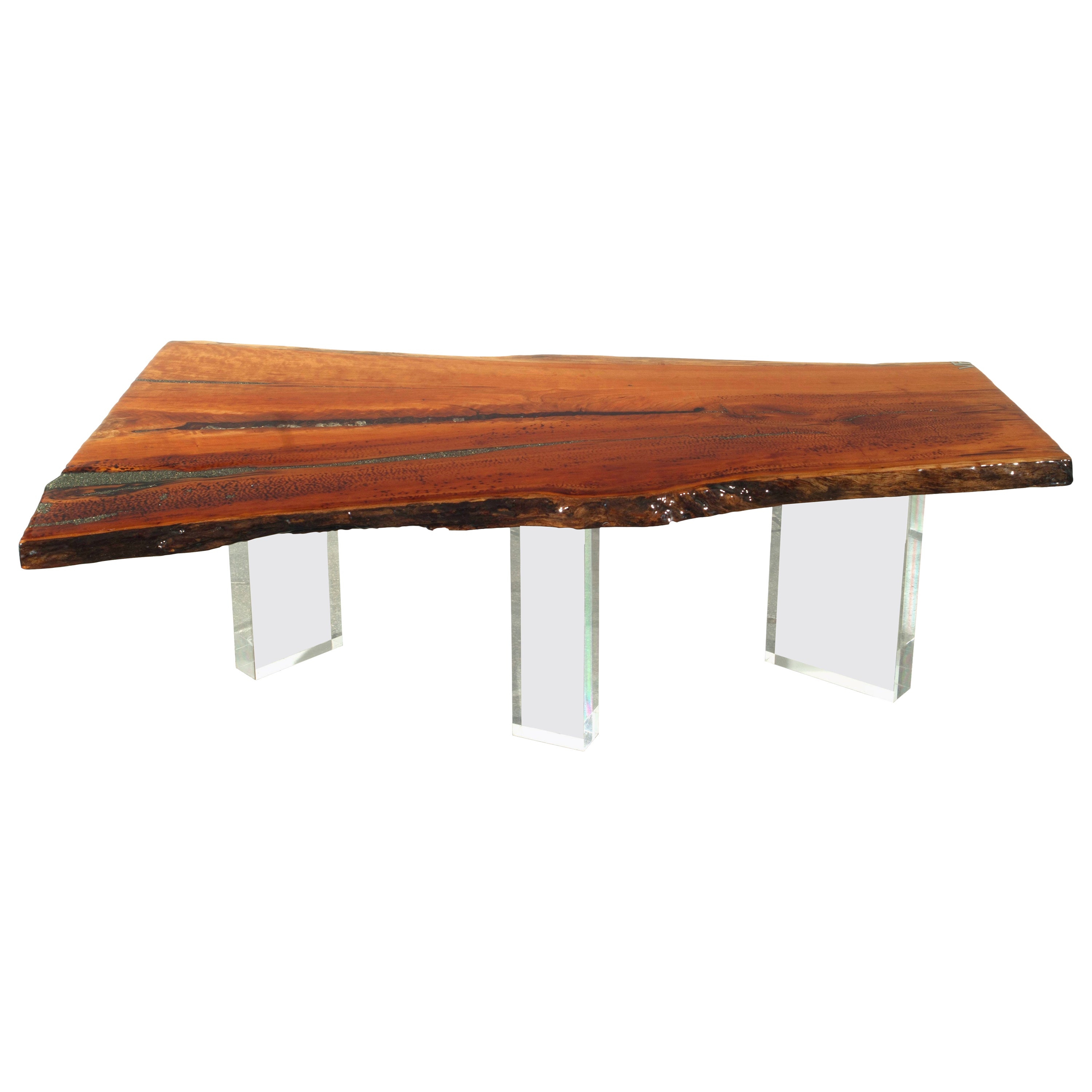 Coffee Table in Wood with Stone Inlay