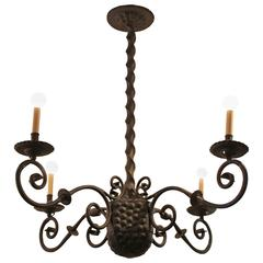 Early 20th Century Spanish Wrought Iron Chandelier
