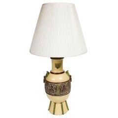 Stylish Glazed Ceramic Asian Style Lamp by Ugo Zaccagnini