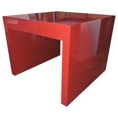 Big Cherry Red Laminate Parsons Table