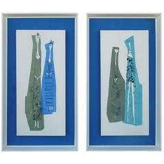 Pair of Rare Alex Kosta Figurative Mid-Century Silkscreens on Board