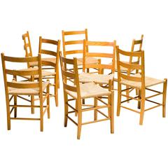 Set of Eight Swedish Dining Chairs in Oregon Pine