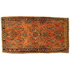 Antique Persian Sarouk Oriental Rug with Floral Design in Small Size, circa 1900