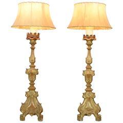 Pair of Italian Rococo Giltwood Candlesticks Mounted as Lamps, 18th Century