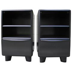 Mid-Century Modern Organic Black Heywood-Wakefield Nightstands with Drawer