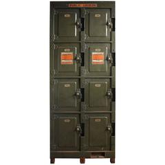 Early 20th Century American Train Station Metal Public Lockers