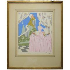 "1920s Art Deco Original Painting by Gaetano Bentivoglio ""Chateaux en Espagne"""