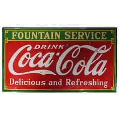 Large 1933s Porcelain Coca Cola Advertising Sign