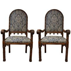 Pair of Antique English 19th Century Carved Elm Gothic Style Armchairs