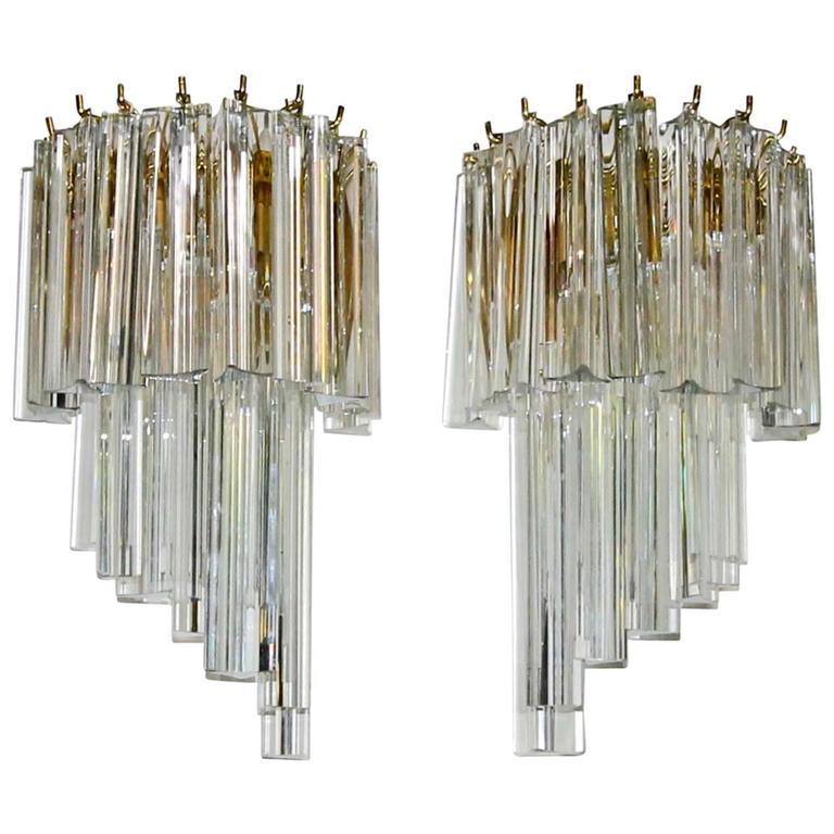 Pair of Venini Style Italian Triedi Glass Prism Wall Sconces