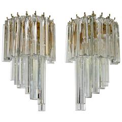 Pair of Venini Style Italian Triedi Glass Prism Wall Sconces