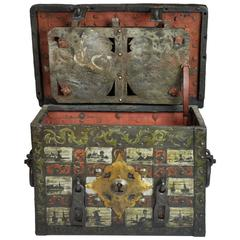 18th-19th Century Spanish Hand-Painted Strongbox/Safe