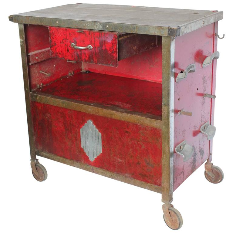 Stylish Art Deco Auto Shop Metal Cart/Bar Cart