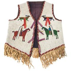 Antique Native American Pictorial Beaded Vest, Sioux, circa 1900