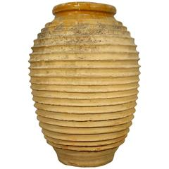 19th Century Greek Antique Olive Jar with Ribs