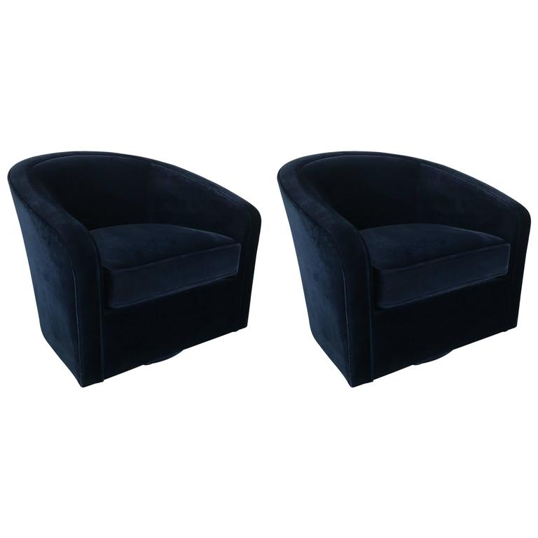 Pair Of Navy Velvet Swivel Chairs In The Style Milo Baughman For