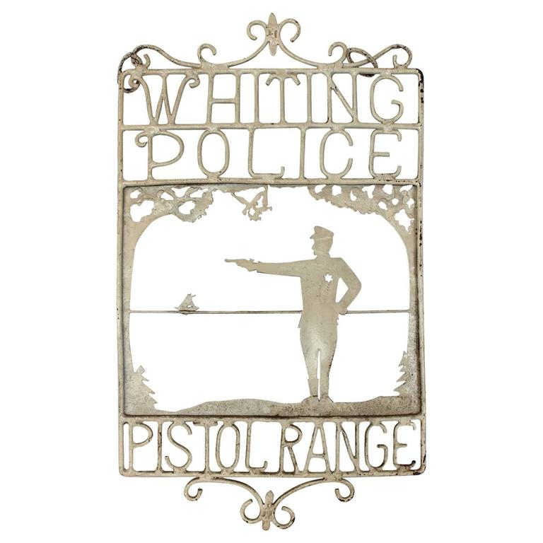 "1920s American Handmade Iron Sign ""Whiting Police Pistol Range"""