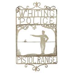 "1920s American Handmade Iron Sign ""Whiting Police Pistol Range"""
