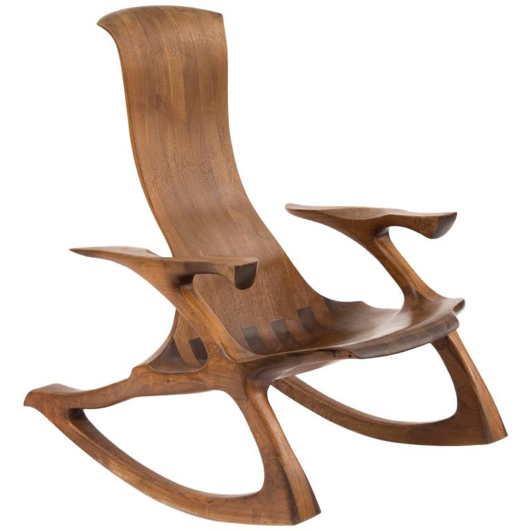 Solid Walnut Studio Crafted Rocking Chair For Sale