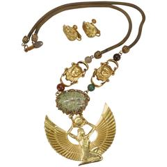 Miriam Haskell Egyptian Revival Goddess Necklace Earrings Costume Jewelry