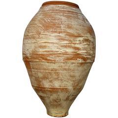 19th Century Mediterranean Terracotta Water Ampora Jar with White Patina
