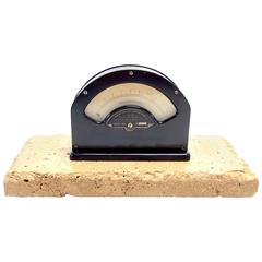 Weston, Mil-Ammeter Test Instrument, Mounted On Stone. As Sculpture. ON SALE.