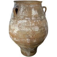 19th Century Antique Large Mediterranean Terracotta Amphora Jar White Patina