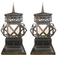 Pair of Large-Scale Vintage Welded Lanterns on Wooden Base