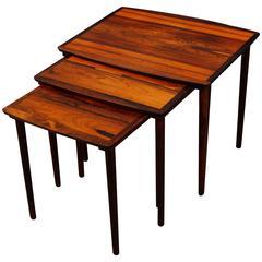 Set Of Three Danish Mid Century Modern Rosewood Nesting Tables By Bramin,  1960s