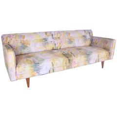 Mid-Century Sofa Attributed to Dunbar and Upholstered in Genevieve Lévy Fabric