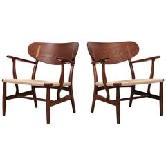 Pair of CH22 Lounge Chairs by Hans Wegner