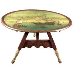 Harbor Scene Painted and Decorated Tilt-Top Tripod Table, circa 1870