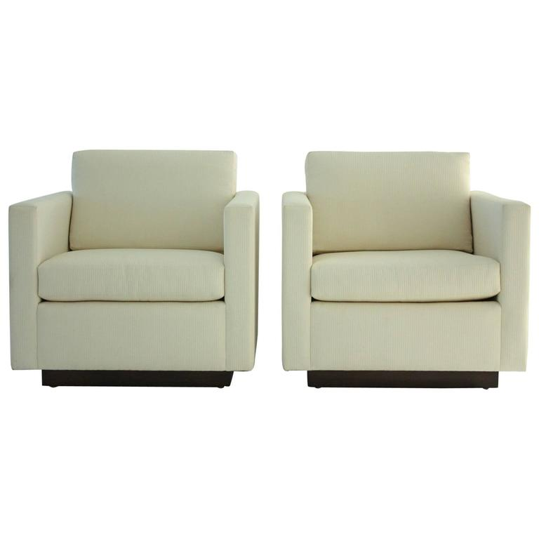 Pair of Nicos Zographos Tuxedo Lounge Chairs For Sale