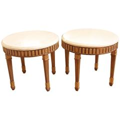 Pair of Kreiss Side Tables with Marble Tops