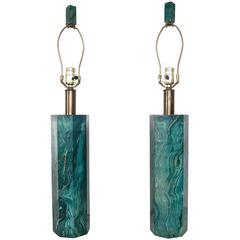 Elegant Faux-Malachite Lamps