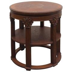 German Expressionist Oak Side Table