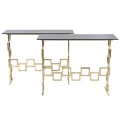 Pair of Italian Modern Geometric Console Tables