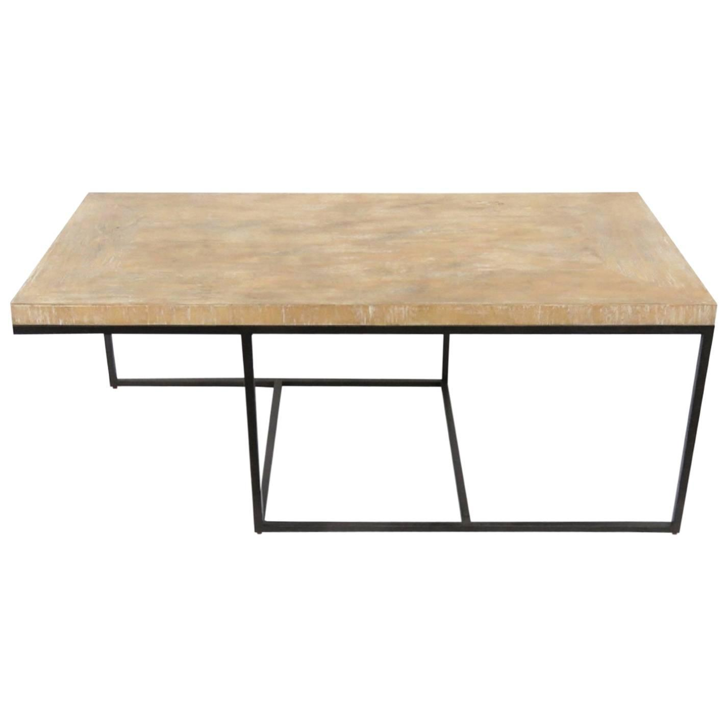 Modern Design Iron And Distressed Wood Coffee Table For
