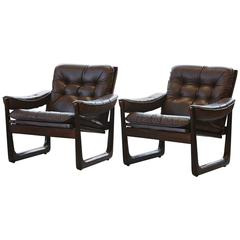 Pair of Lounge Chairs in Leather and Rosewood by Oddment Vad