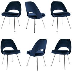 Saarinen Executive Armless Chairs in Navy Velvet, Set of Six
