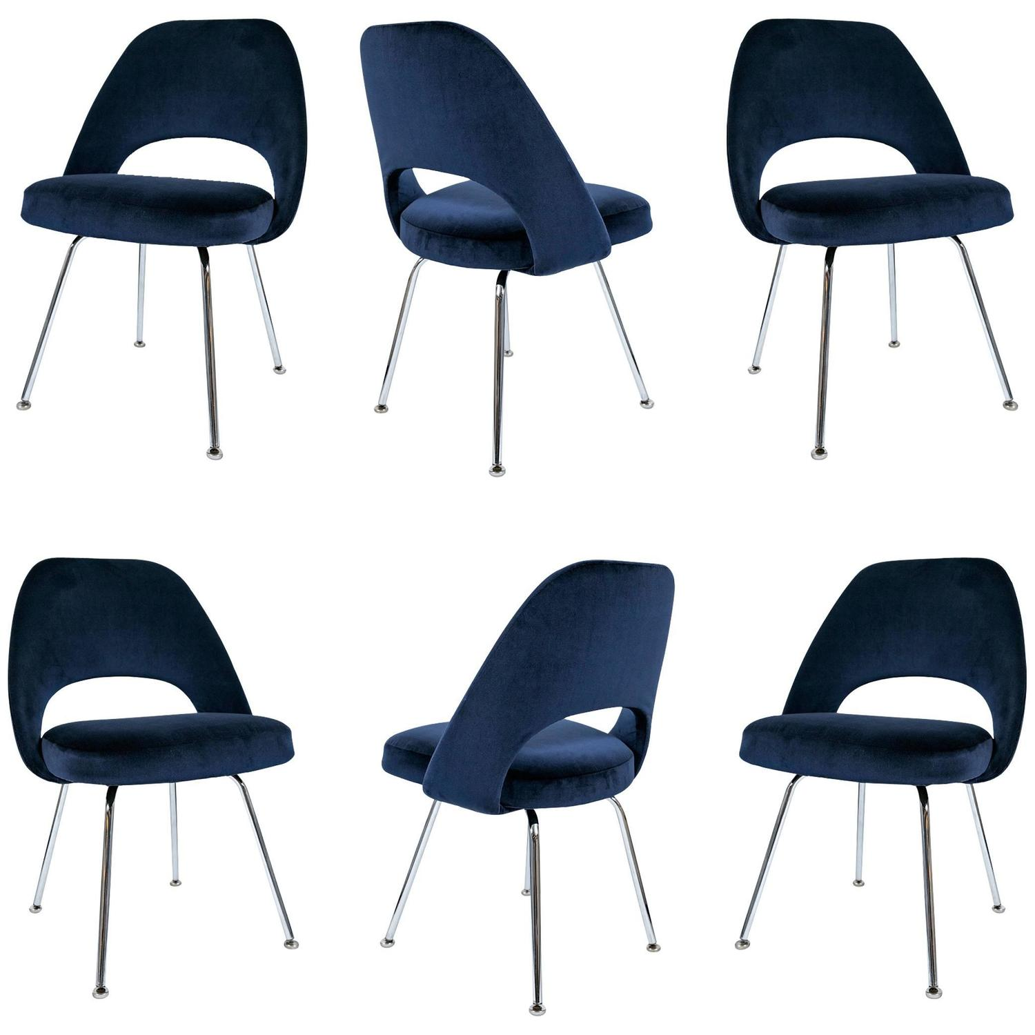 Saarinen Executive Armless Chairs In Navy Velvet Set Of Six For Sale At 1stdibs