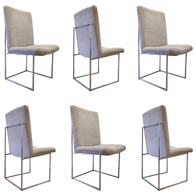 Milo Baughman Six Chrome Dining Chairs
