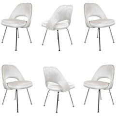Saarinen Executive Armless Chairs in Ivory Velvet, Set of Six