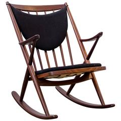 Frank Reenskaug for Bramin, Walnut Rocking Chair, Denmark, 1958