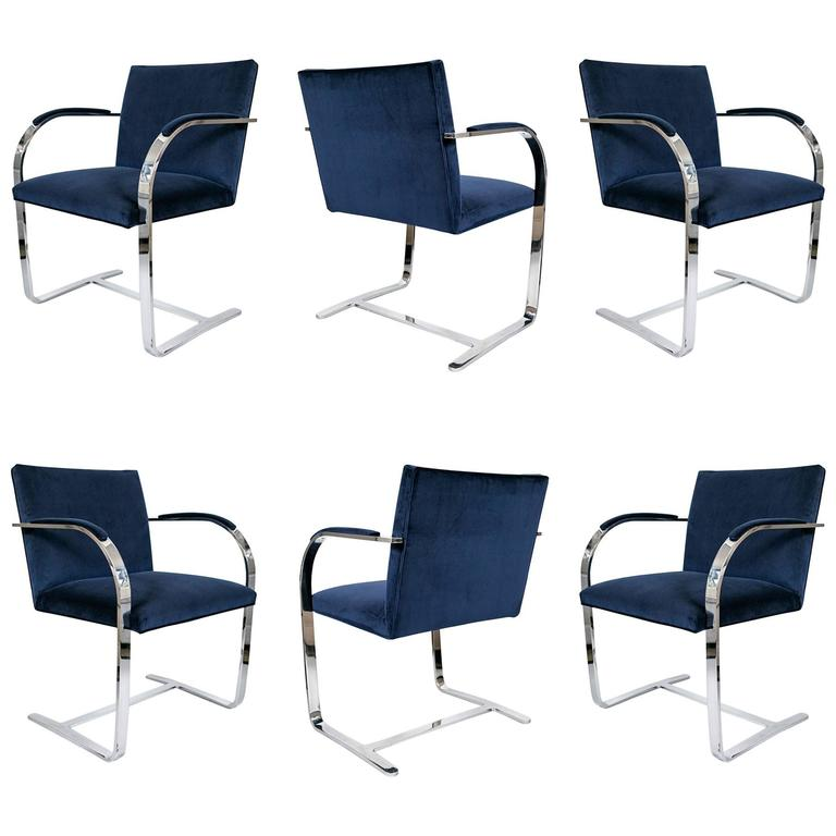 Brno Flat Bar Chairs in Navy Velvet, Set of Six