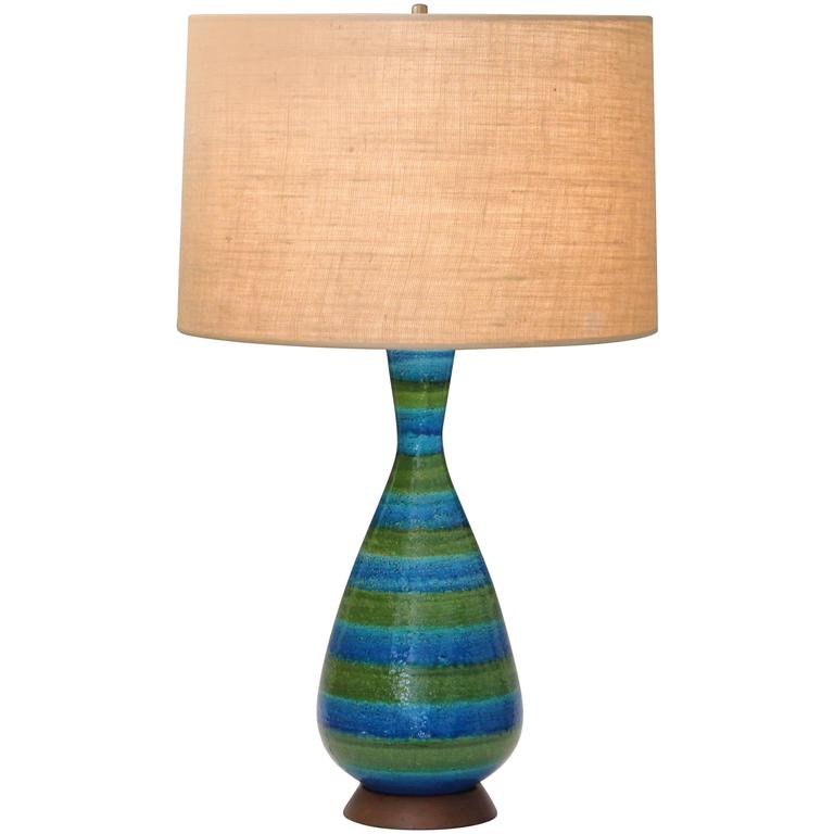 Large Bitossi For Raymor, Blue And Green Striped Italian Pottery Lamp For  Sale