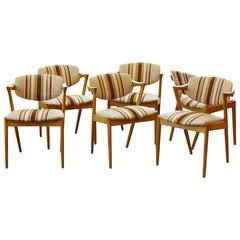 Set of Six Dining Chairs Model 42 by Kai Kristiansen in Oak and Original Fabric