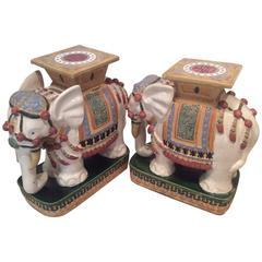Elephant Garden Stands Stools Vintage Pair Side End Tables Vietnam Ceramic