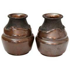 Pair of Antique English Bretby Arts and Crafts Copper Clad Pottery Vases