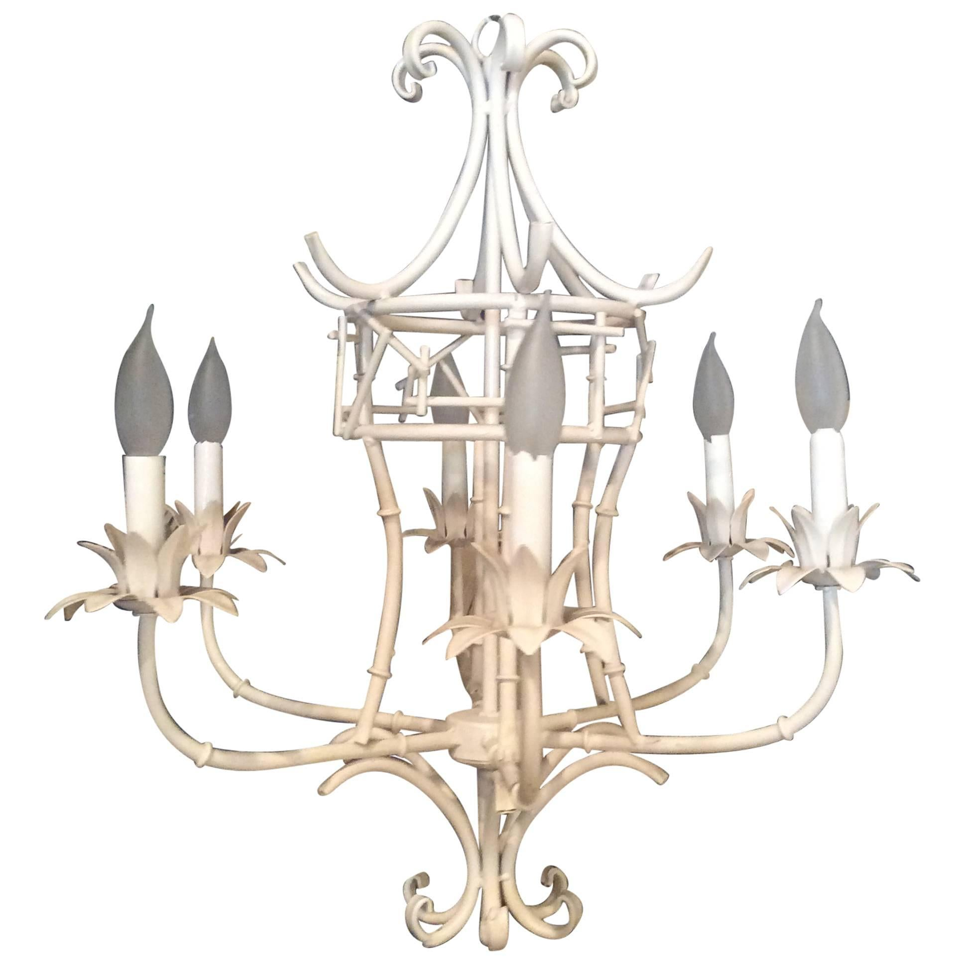 Faux Bamboo Pagoda Chandelier Vintage Chinese Chippendale Metal Palm Beach